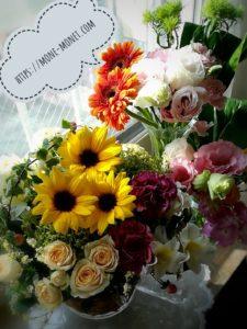 自分自身でアレンジし花瓶に刺した花