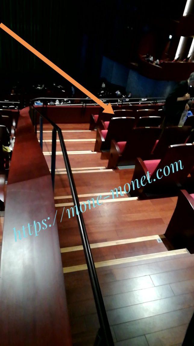 S席の座席の位置