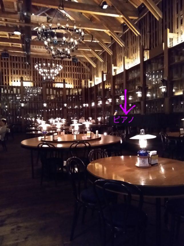 ホールの全体。空間の広さピアノの位置表示